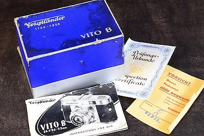 1956 Voigtlander Vito B Camera Instruction Booklet  Warranty Card & Box Rare!