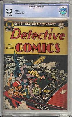 Detective Comics # 90 Crime Between the Acts ! CBCS 3.0 scarce Golden Age book !