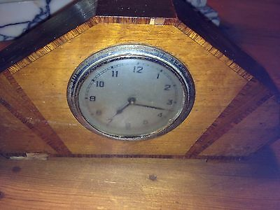 ANTIQUE  art deco clock solid wood surround clock not working