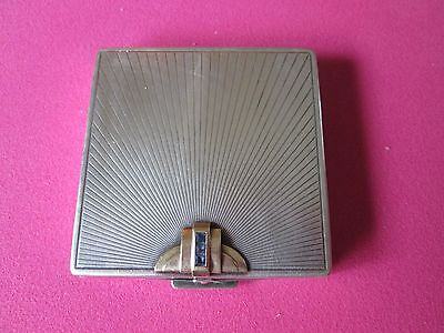 Cartier Art Deco Vintage Compact - Sterling and 14K Gold and Blue Sapphires