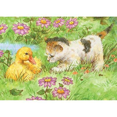 """Colour Pencil By Number Kit KITTEN & DUCKLING 5"""" X 7"""""""