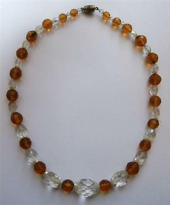 Vintage 1930's Single String Clear & Citrine Yellow Glass Crystal Bead Necklace