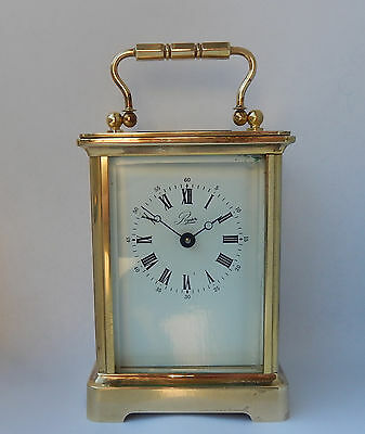 Superb L'Epee 11 Jewel French Brass Case Carriage Clock Working  2621