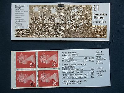 Fh33 Prime Ministers Dav1D Lloyd George £1 Machin Machine Stamp Booklet Bmb
