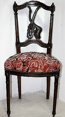 Antique Walnut Victorian Side Chair. *violin Carved Back & Visible Saw Marks* #2