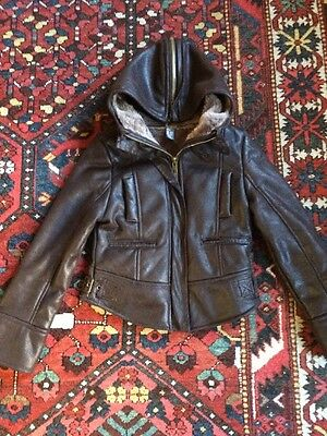Zara Kids Size 9-10 Yrs 140cm Faux Leather Jacket Fur Lined Brown
