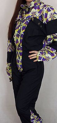 Vintage 80's 90's Womens All In One Neon Ski Suit Small Ellesse Made In Italy