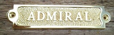 Brass ADMIRAL Sign Plaque Nautical Ship Boat Decor NEW