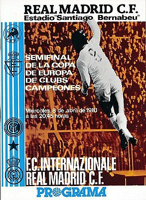EUROPEAN CUP SEMI FINAL 1981: Real Madrid v Inter Milan