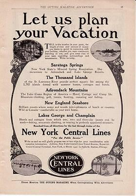 1910 Vintage ad New York Central Lines Saratoga Springs Adirondacks  Cabin Art