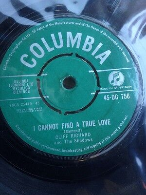 "CLIFF RICHARD - I Cannot Find a True Love 45 Record 7"" Vinyl single 1960 DC756"