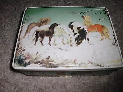 Vintage Tin Frears Limited Biscuits Tin. Ponies Playing In Snow. Christmas Tin