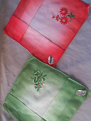 2 Vintage NOS CHRISTMAS HANKIES Hadkerchiefs ~ RED GREEN SHEERS w/EMBROIDERY Tag