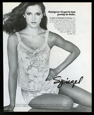 1983 pretty woman photo Spiegel lingerie lace chemise vintage print ad
