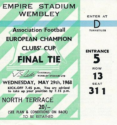 TICKET: EUROPEAN CUP FINAL 1968 Manchester United v Benfica -  EXCELLENT