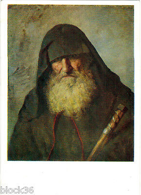 1960 Russian card reproduction of painting MONK by V.Polenov