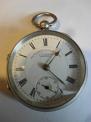 """Silver Pocket Watch - The """"Express"""" English Lever  by J.G. Graves. Sheffield -VG"""