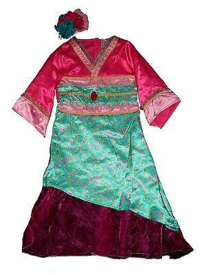 bnwt girls mulan style oriental chinese fancy dress costume outfit 5,6,7,8 yrs