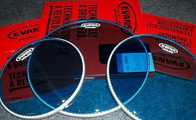 """EVANS **BLUE** Hydraulic Drum Head Pack - FUSION Sizes 10""""-12""""-14"""" - Level 360"""