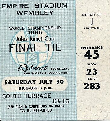 TICKET: WORLD CUP 1966 FINAL England v West Germany @ Wembley 30.07 - EXCELLENT