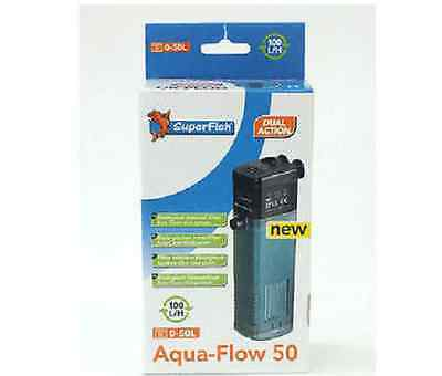 Superfish Aqua flow 50 Internal Filter 0-50 litres Aquarium Dual Action 100 l/h