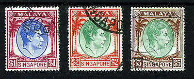 SINGAPORE MALAYA KG VI 1948-52 2nd Issue HIGH VALUES Perf 17½x18 SG 28 to 30 VFU