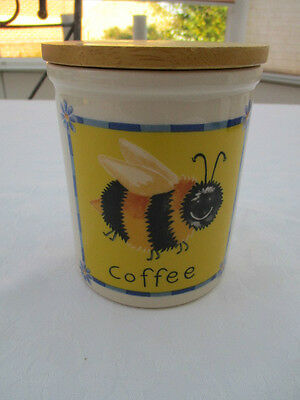 t g green cloverleaf bee coffee storage jar very good used condition