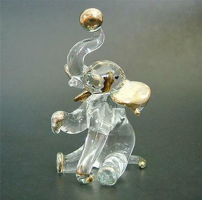 Glass Animal, Circus ELEPHANT, Clear Glass and Gold Painted Ornament, Gift