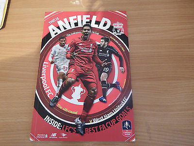LIVERPOOL v WEST HAM FA Cup 4th Rd. Programme & Tkt
