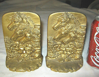 Antique Art Deco Equestrian Country Horse Bronze Art Statue Sculpture Bookends