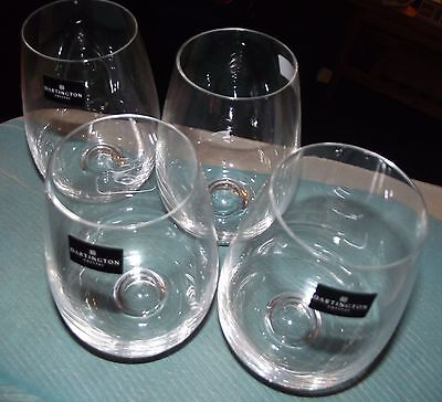 4 x DARTINGTON CRYSTAL STEMLESS WINE GLASSES
