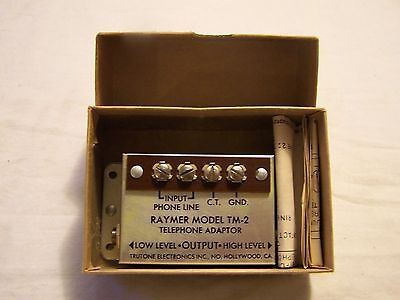VTG (NOS) Electronic RAYMER Model TM-2 Amplifier Telephone Matching Adapter Line