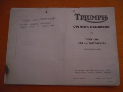 CLASSIC TRIUMPH MOTORCYCLE OWNERS HANDBOOK for TIGER CUB 200cc