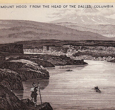 1890's Mt Hood Dalles Columbia River OR photo-style Jersey Coffee Ad Trade Card