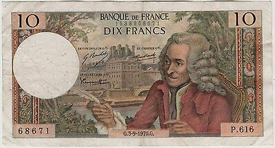 10 Francs Bank Note From The Bank Of France Issued 3-9-1970.g.
