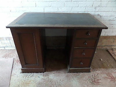 Antique Vintage Twin Pedestal Leather Top Writing DESK *free local del