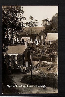 Mydrim Church & Entrance into Village - real photographic postcard