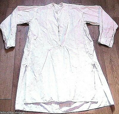 FRENCH 1920s MEN FORMAL LONG SHIRT & GUSSETS -WHITE COTTON-MADE IN FRANCE-MINT-M