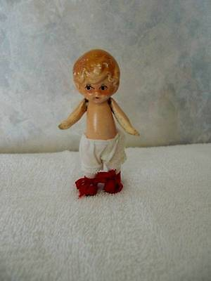 "Marked ""Germany"" ~ Vintage Bisque Jointed Doll 3 1/2"""