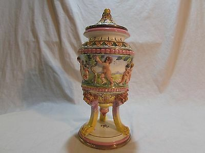 Antique Sala Italian Porcelain 1651 Hand Marked Urn with Lid and Cherubs