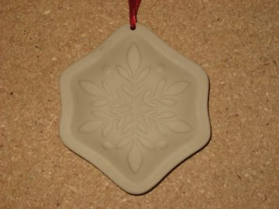 Longaberger Pottery Snowflake Cookie Mold Ornament - Mint in box.