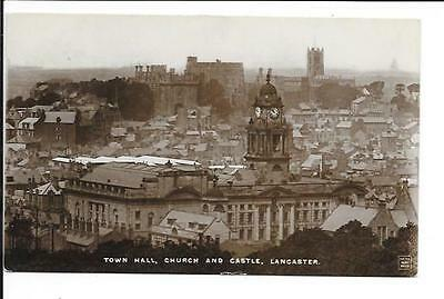 Old postcard, Lancs: 'Town Hall, Church and Castle, Lancaster'. Posted 1917. RP