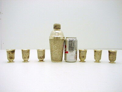 Solid Silver Oriental/Asian Cocktail Shaker Set & 6 cups Filigree Floral Motif