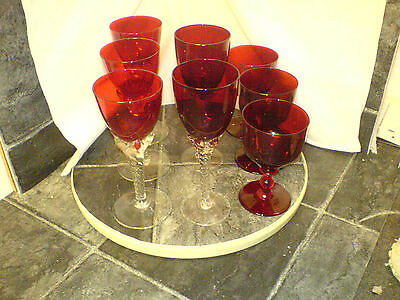Cranberry Glass Wine Glasses - 8 In Total - 3 / 2 / 3 - See Scans