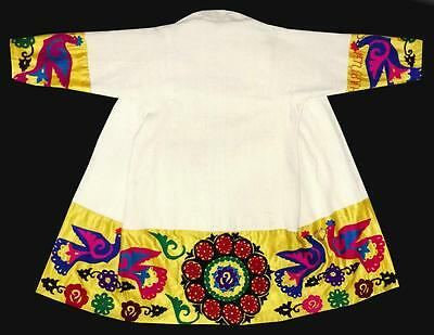 Vintage Old Gorgeous Uzbek Silk Hand Embroidered Robe Birds A9242