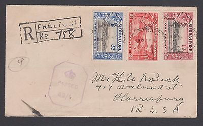 1943 Sierra Leone Registered Crown censored cover to the USA.