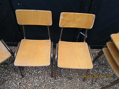 2 Vintage / Retro tubular Steel and Plywood stacking School Chairs - TN26 2HG