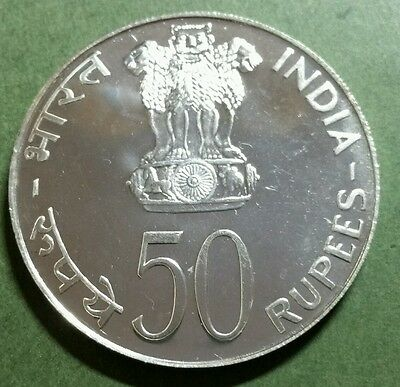 India 1974 50 Rupees F.A.O. Silver Proof Coin