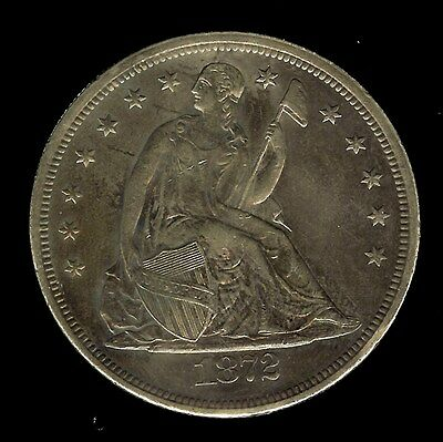 1872 Seated Liberty Silver Dollar  Uncirculated+