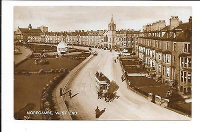 Old postcard, Lancs: 'Morecambe, West End'. 'Real photo'.